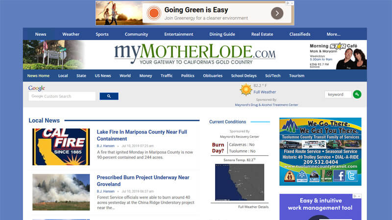 myMotherLode.com Website Desktop Display
