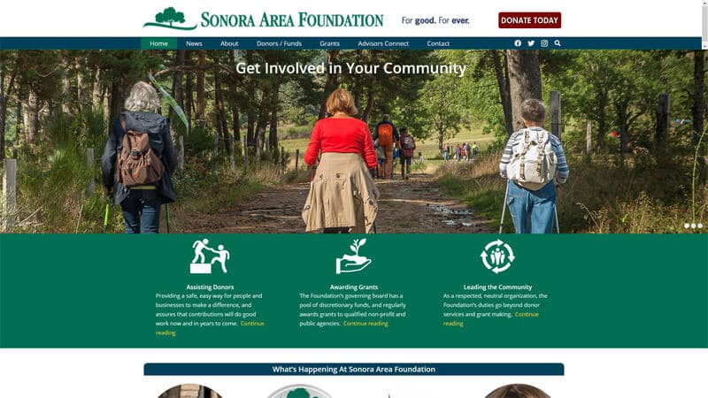 Sonora Area Foundation Website Desktop Display