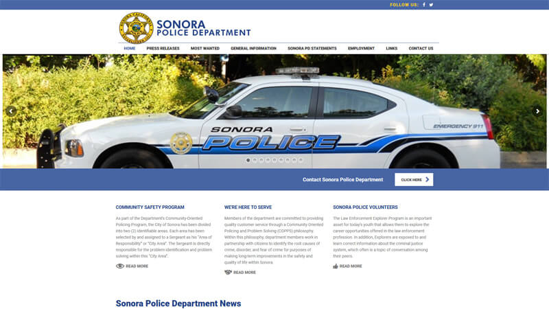 Sonora Police Department Website Desktop Display