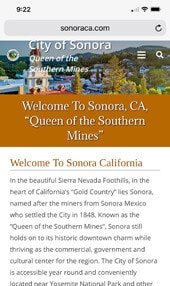 Sonora CA Website iPhone Display
