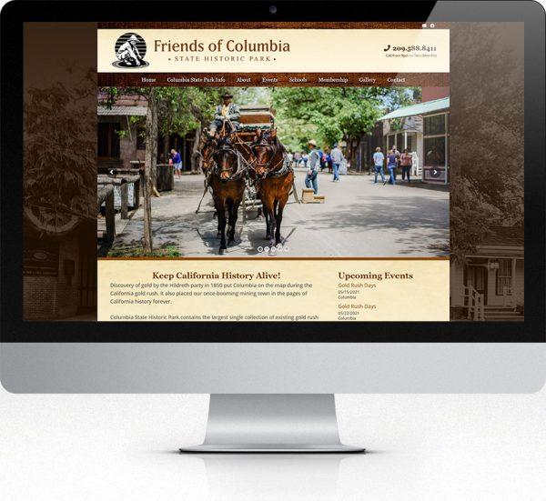 Friends of Columbia Website Design Desktop View
